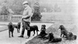 Lord Knutsford und eine Gruppe seiner Labradors auf Munden